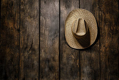Vintage Barns Photograph - Hanging Straw Hat  by Olivier Le Queinec