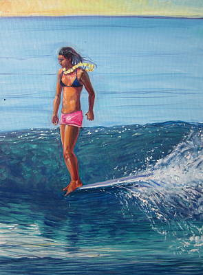 Surfer Girl Painting - Hanging Ten by Michael Knowlton