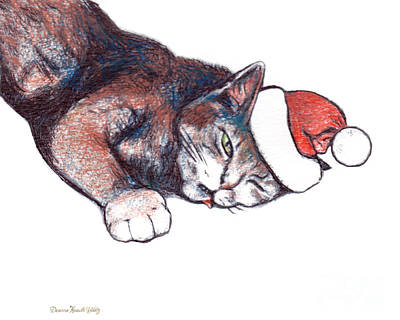 Drawing - Hangover Santa Cat by Deanna Yildiz