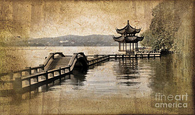 Chinese Architecture Photograph - Hangzhou Lake by Delphimages Photo Creations