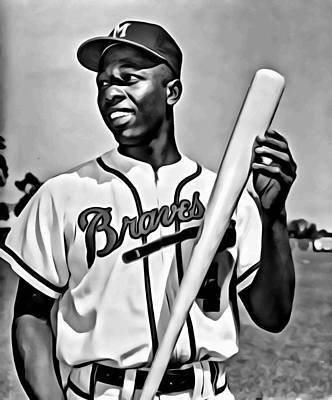 Baseball Painting - Hank Aaron Painting by Florian Rodarte