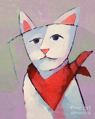 Cat Fine Art Painting - Hanky Cat by Lutz Baar