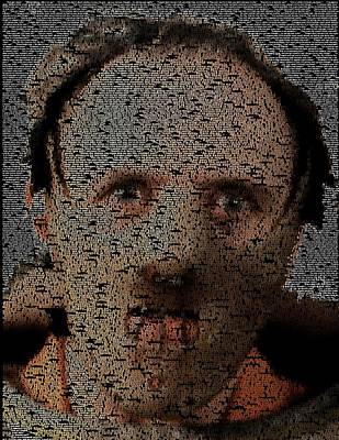 Anthony Hopkins Painting - Hannibal Lecter Quotes Mosaic by Paul Van Scott