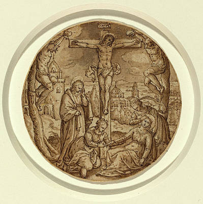 Wash Drawing - Hans Bol Netherlandish, 1534-1593, The Crucifixion by Litz Collection