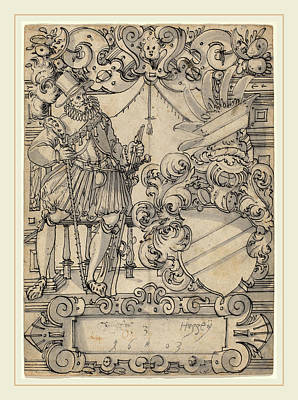 Wash Drawing - Hans Jegli II Swiss, 1580-1643, A Donor With A Coat Of Arms by Litz Collection