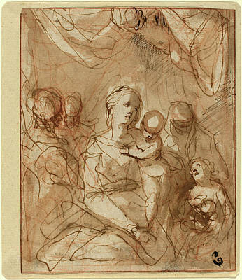 Jesus Drawing - Hans Rottenhammer, German 1564-1625, The Virgin And Infant by Litz Collection
