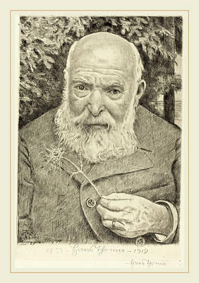 Self-portrait Drawing - Hans Thoma, Self-portrait Vi With Flower by Litz Collection