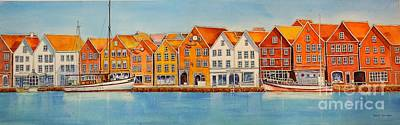 Painting - Hanseatic_houses_bergen_norway by Nancy Newman