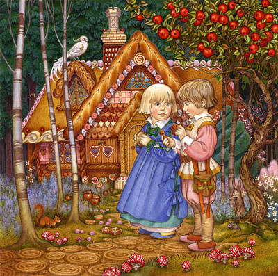 Candy Painting - Hansel And Gretel by Carol Lawson