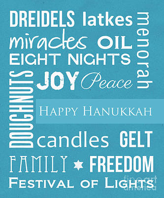 Poster Mixed Media - Hanukkah Fun by Linda Woods