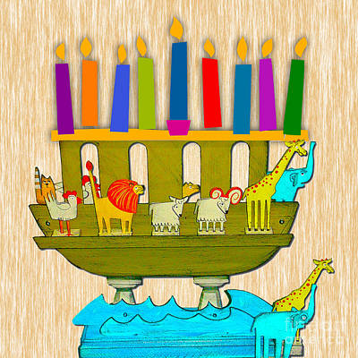 Mixed Media - Hanukkah Menorah And Noah's Arc by Marvin Blaine
