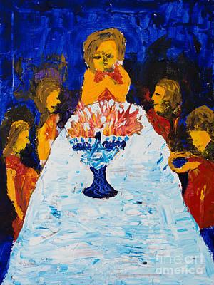 Painting - Hanukkah Menorah by Walt Brodis