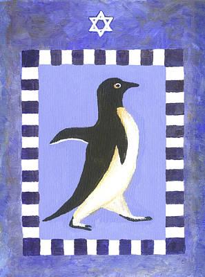 Penguin Painting - Hanukkah Penguin Two by Linda Mears