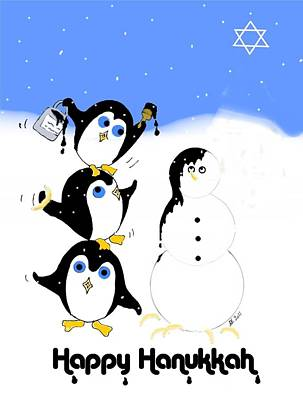 Digital Art - Hanukkah Penguins by Stephanie Grant