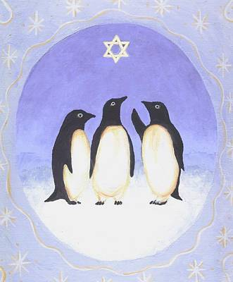 Penguin Painting - Hanukkah Penguins Three by Linda Mears