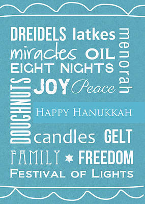 Royalty-Free and Rights-Managed Images - Hanukkah Words -Greeting Card by Linda Woods
