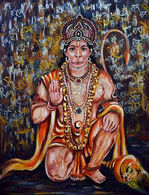 Print featuring the painting Hanuman by Harsh Malik