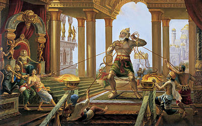 Painting - Hanuman In Ravana's Palace by Vrindavan Das