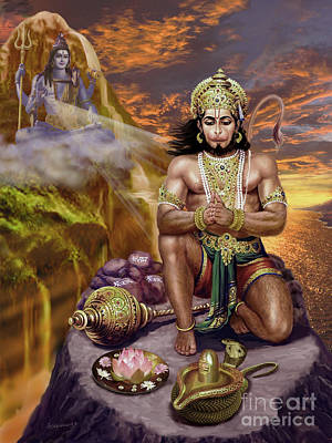 Painting - Hanuman Receives Lord Shiva's Blessings by Vishnudas Art