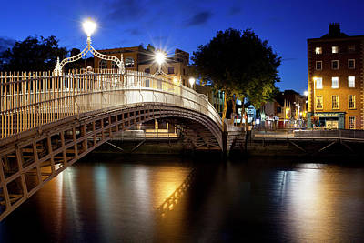 Hapenny Photograph - Hapenny Bridge Lit Up At Dusk, Liffey by Panoramic Images
