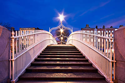 Photograph - Ha'penny Bridge Steps - Dublin by Barry O Carroll