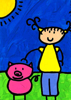 Pig Painting - Happi Arte 1 - Girl With Pink Pig Art by Sharon Cummings