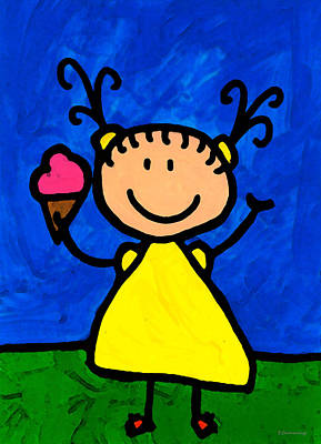 Ice Cream Painting - Happi Arte 3 - Little Girl Ice Cream Cone Art by Sharon Cummings
