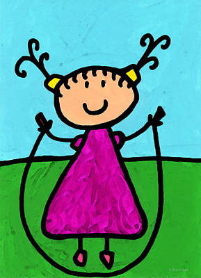 Teacher Mixed Media - Happi Arte 7 - Girl On Jump Rope Art by Sharon Cummings