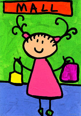 Teacher Mixed Media - Happi Arti 5 - Shopaholic Little Girl Art by Sharon Cummings