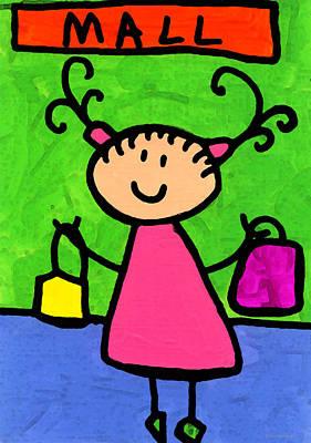 Stick Figure Painting - Happi Arti 5 - Shopaholic Little Girl Art by Sharon Cummings