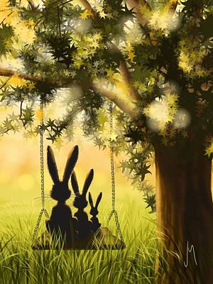 Rabbit Painting - Happily Together by Veronica Minozzi