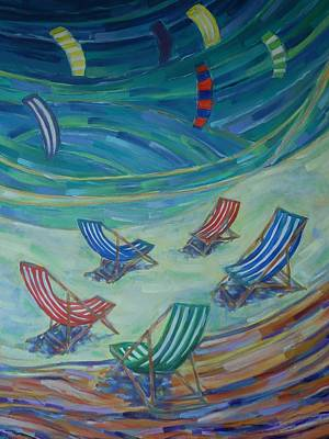 Painting - Happiness On The Bay 3 by Zofia  Kijak