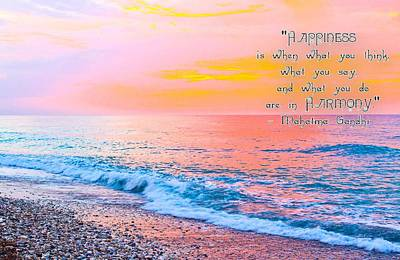 Happiness Quote Mahatma Gandhi  Art Print