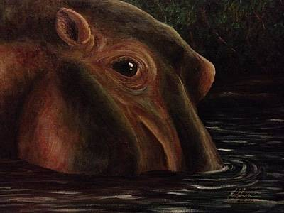 Painting - Happy As A Hippo by K Simmons Luna