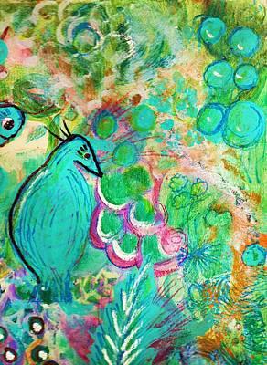 Happy Bird In Aqua Art Print by Anne-Elizabeth Whiteway