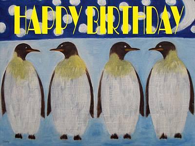 Penguin Mixed Media - Happy Birthday 15 by Patrick J Murphy