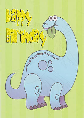 Martinspixs Digital Art - Happy Birthday Blue Dinosaur by Martin Matthews