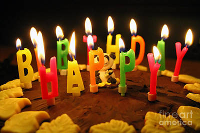 Candle Lit Photograph - Happy Birthday Candles by Lars Ruecker