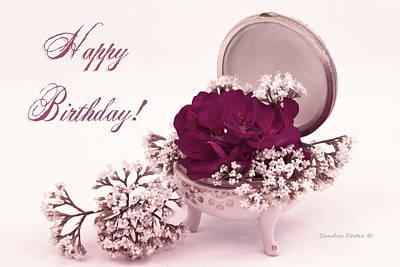 Pink Geraniums Photograph - Happy Birthday Card - Pink Geranium In Vintage Dish by Sandra Foster