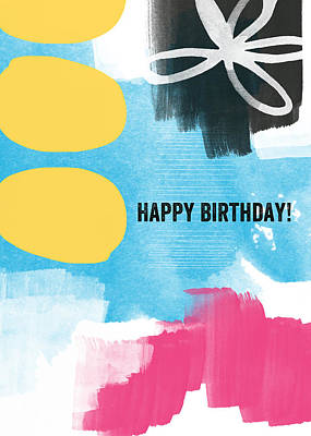 Blue Abstracts Mixed Media - Happy Birthday- Colorful Abstract Greeting Card by Linda Woods