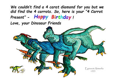 Painting - Happy Birthday Dinos On The Run by Michael Shone SR