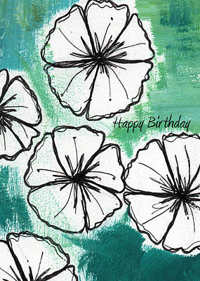 Cart Painting - Happy Birthday- Floral Birthday Card by Linda Woods