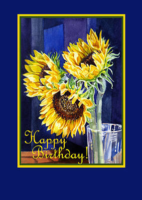 Sunflower Painting - Happy Birthday Happy Sunflowers  by Irina Sztukowski