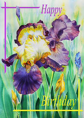 Painting - Happy Birthday Iris Flower by Irina Sztukowski