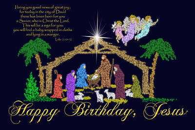 Happy Birthday Jesus Nativity Art Print by Robyn Stacey