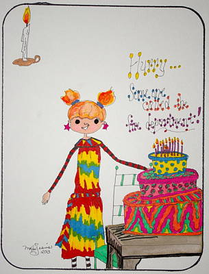 Drawing - Happy Birthday by Mary Kay De Jesus