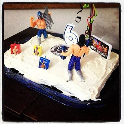 Wrestling Wall Art - Photograph - Happy Birthday Mason!! 🎉🎉 #cake by Katrina A