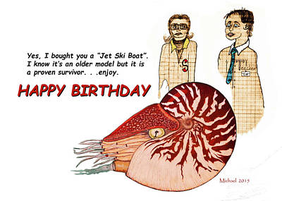 Painting - Happy Birthday Nautilus Card by Michael Shone SR