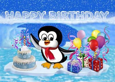 Happy Birthday Penguin Art Print