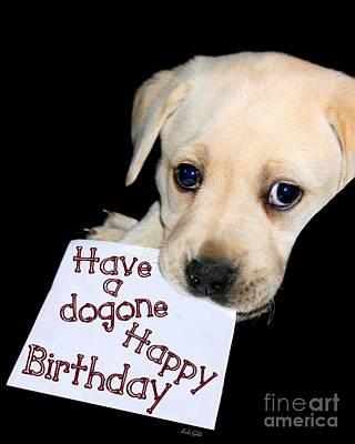 Kids Bones Photograph - Happy Birthday Puppy Card by Linda Galok